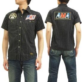 トイズマッコイ ストライプワークシャツ TMS1401 AMA toys mccoy メンズ 半袖シャツ ブラック 新品