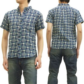 フェローズ チェックボタンダウンシャツ 14S-PBDS2 二重織り pherrows メンズ 半袖シャツ ブルー 新品