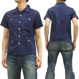 研究员古巴 14S PCS1 头巾模式 pherrows 男式衬衫的开领短短袖 t 恤海军新