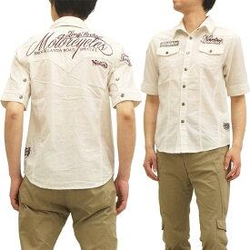 ノートンモーターサイクル 5分袖ミリタリーウエスタンシャツ 42N1509 メンズ 五分袖シャツ オフ白 新品