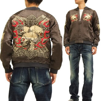 Back Street Crawler Japanese Souvenir Jacket BSJ-20 Skull & Cross Men's Sukajan Charcoal Brand-new from Japan