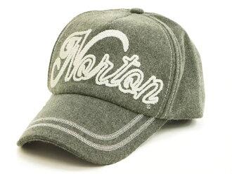 像諾頓摩托車繩子一樣的刺綉氈蓋子43N8706 Norton Motorcycle人帽子#05灰色新貨