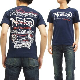 ノートンモーターサイクル Tシャツ 52N1001 Norton Motorcycle ロゴ刺繍 メンズ 半袖tee ネイビー 新品