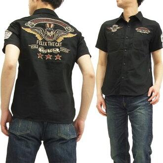 万顺 workshirt FXV 505 费利克斯 · 费利克斯--猫万顺男士短袖衬衫黑新品牌