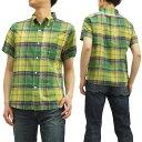 フェローズ ボタンダウンシャツ 15S-PBDS2 マドラスチェック Pherrow's Pherrows メンズ 半袖シャツ イエロー 新品