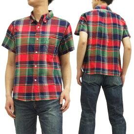 フェローズ ボタンダウンシャツ 15S-PBDS2 マドラスチェック Pherrow's Pherrows メンズ 半袖シャツ レッド 新品