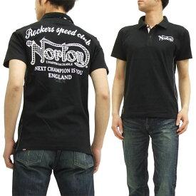 ノートンモーターサイクル ポロシャツ 52N1911 Norton Motorcycle 千鳥格子パッチ メンズ 半袖POLO ブラック 新品