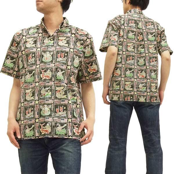 レインスプーナー アロハシャツ 1929 Reyn Spooner 2015 Summer Commemorative メンズ 半袖シャツ 0125-1929 #15ブラック 新品