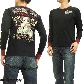 ミッキーマウス 長袖Tシャツ 595508 バイク柄 ローブローナックル メンズ ロンtee ブラック 新品