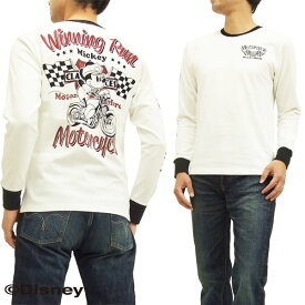ミッキーマウス 長袖Tシャツ 595508 バイク柄 ローブローナックル メンズ ロンtee オフ白 新品
