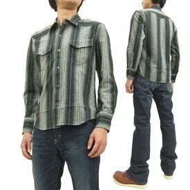 インディアンモーターサイクル ドビーストライプ ウエスタンシャツ IM27162 東洋エンタープライズ メンズ 長袖シャツ #119ブラック 新品