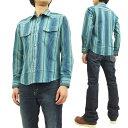 インディアンモーターサイクル ドビーストライプ ウエスタンシャツ IM27162 東洋エンタープライズ メンズ 長袖シャツ #125ブルー 新品