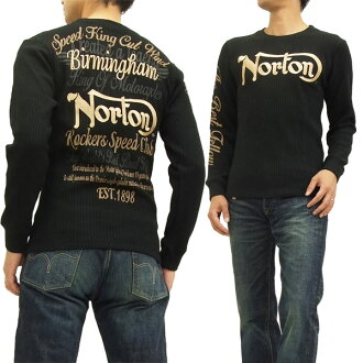 Norton Motorcycle waffle long sleeve T-shirt 53N1108 men's thermal black brand-new from Japan