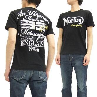诺顿摩托车 T 衬衫 62N1003 诺顿摩托车刺绣 + Pt。 男式短袖 t 恤黑色新品牌