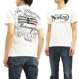 ノートンモーターサイクル Tシャツ 62N1003 Norton Motorcycle 刺繍+Pt. メンズ 半袖tee オフ白 新品