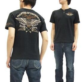 インディアンモトサイクル Tシャツ IMST-607 ヘンリーネック メンズ 半袖tee ブラック 新品