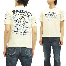 テッドマン Tシャツ TDSS-443 TEDMAN ピンストライプ エフ商会 メンズ 半袖tee オフ白 新品