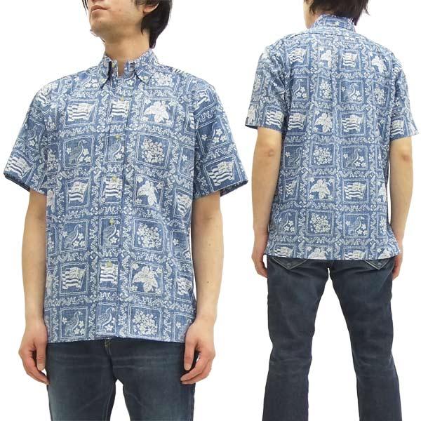 レインスプーナー アロハシャツ ラハイナセーラー メンズ 半袖シャツ 125-1806 C/#62デニム 新品