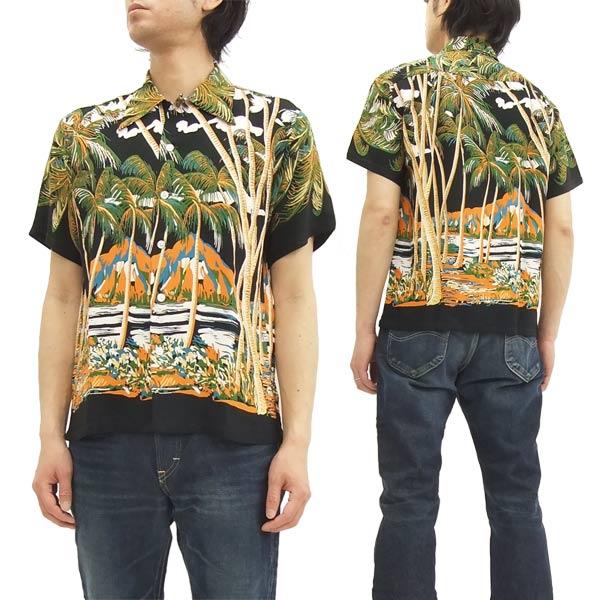 デューク・カハナモク アロハシャツ DK36202 東洋エンタープライズ メンズ 半袖シャツ ブラック 新品