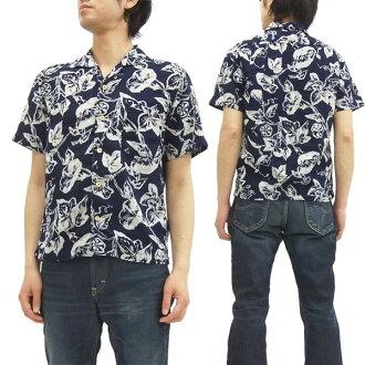 新准备仓敷工作室总和图案衬衫 25809 仓库牵牛花模式 W 纱布男士短袖衬衫靛蓝