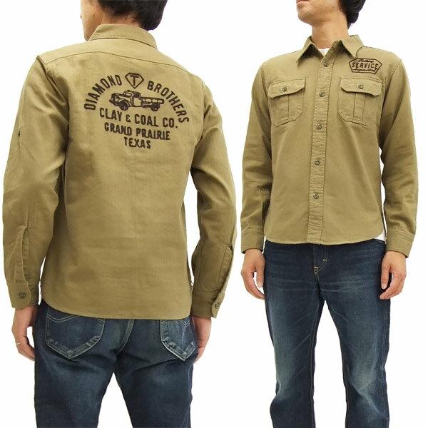 フェローズ ワークシャツ 16W-PWBD1 ヘリンボーン 刺繍カスタム メンズ 長袖シャツ カーキベージュ 新品