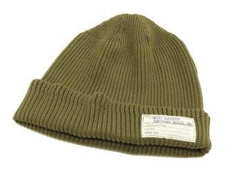 53f713d1ba5 Pine-Avenue Clothes shop  Buzz Rickson s Men s Watch Cap Cotton Knit  Military Style Hat BR02186 Olive Green