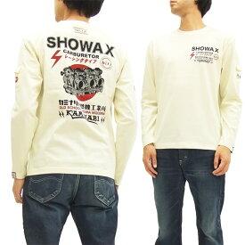 カミナリ 長袖Tシャツ KMLT-126 SHOWAX 内燃機系柄 エフ商会 メンズ ロンtee オフ白 新品
