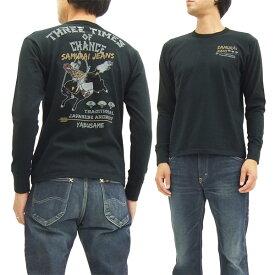 サムライジーンズ 長袖Tシャツ SJSLT16-102 流鏑馬 メンズ ロンtee ブラック 新品