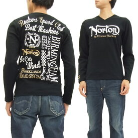 ノートンモーターサイクル 長袖Tシャツ 63N1103 Vネック スパンテレコ素材 メンズ ロンtee ブラック 新品