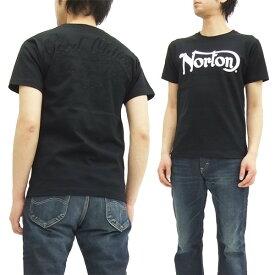 ノートンモーターサイクル Tシャツ 62N1004 ヘビーウエイト天竺 同色ロゴ刺繍 メンズ 半袖tee ブラック 新品