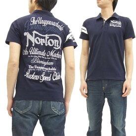 ノートン ポロシャツ Norton Motorcycle ベア天竺 半袖千鳥ポロシャツ 吸水速乾 62N1910 ネイビー 新品