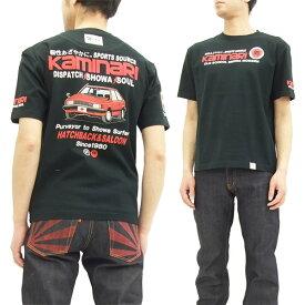 カミナリ Tシャツ KMT-144 マツダ ファミリア 旧車柄 エフ商会 メンズ 半袖tee ブラック 新品