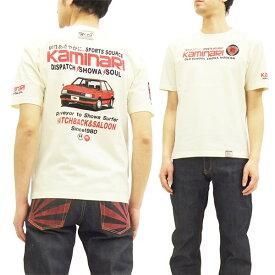 カミナリ Tシャツ KMT-144 マツダ ファミリア 旧車柄 エフ商会 メンズ 半袖tee オフ白 新品