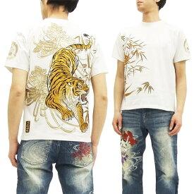 絡繰魂 粋 Tシャツ 272520 虎 刺繍 和柄 メンズ 半袖tee オフ白 新品