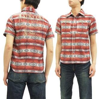 indiammotosaikuruwakushatsu IMSS-702当地人花纹人短袖衬衫红新货