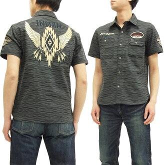Indian Motocycle Native Pattern Shirt IMSS-704 Men's short Sleeve Shirts Black