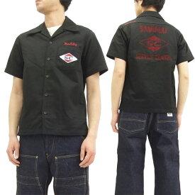 サムライジーンズ オープンカラーシャツ MCTC17 サムライ二輪車倶楽 メンズ 半袖シャツ ブラック 新品