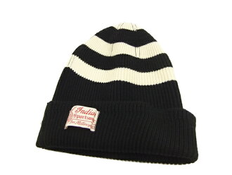 Indian Motorcycle Striped Wool Watch Cap for Men IM02521 Black / Off-White