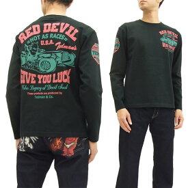 テッドマン 長袖Tシャツ TDLS-317 TEDMAN カーレース柄 エフ商会 メンズ ロンtee ブラック 新品