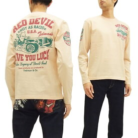 テッドマン 長袖Tシャツ TDLS-317 TEDMAN カーレース柄 エフ商会 メンズ ロンtee ピンク 新品