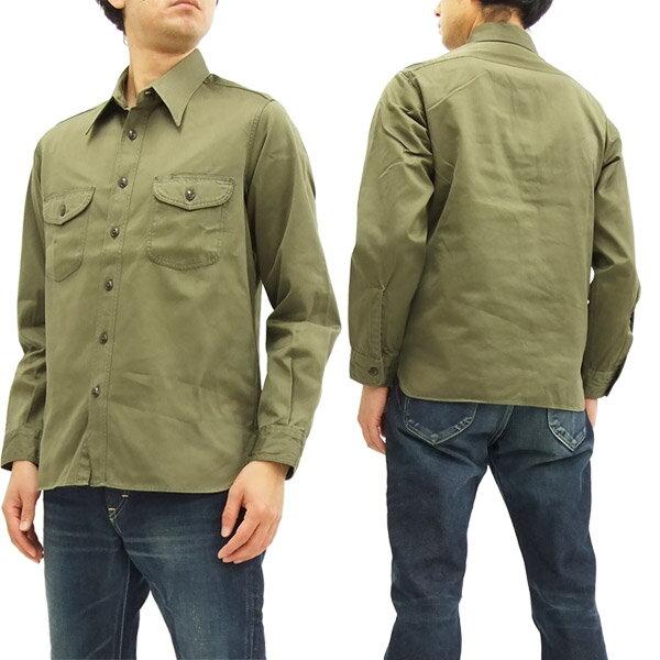 バズリクソンズ BR26081 ヘリンボーン ワークシャツ メンズ 無地 長袖シャツ #149オリーブ 新品