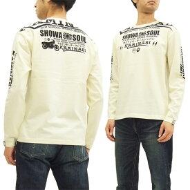 カミナリ 長袖Tシャツ KMLT-155 SHOWA SOUL バイク柄 エフ商会 メンズ ロンtee オフ白 新品