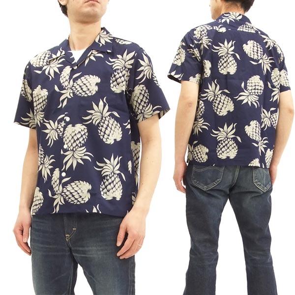 デューク・カハナモク アロハシャツ DK37811 パイナップル メンズ ハワイアンシャツ 半袖シャツ C/#128ネイビー 新品