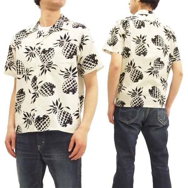 デューク・カハナモク アロハシャツ DK37811 パイナップル メンズ ハワイアンシャツ 半袖シャツ C/#101ホワイト 新品