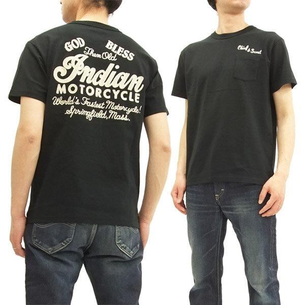 インディアンモーターサイクル IM77918 Tシャツ 刺繍 東洋エンタープライズ メンズ 半袖Tee ブラック 新品