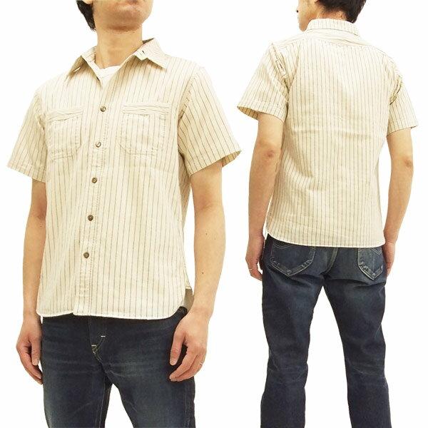 シュガーケーン SC37275 ワークシャツ ホワイトウォバッシュストライプ メンズ 半袖シャツ 新品