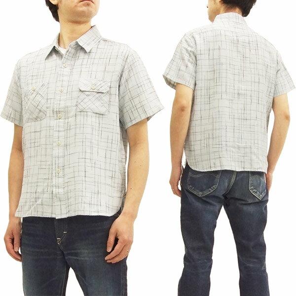 シュガーケーン SC37896 ワークシャツ スラブドビーチェック メンズ 半袖シャツ #105オフ白 新品