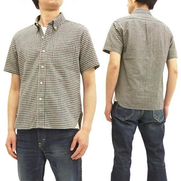 シュガーケーン SC37900 綿麻 ボタンダウンシャツ ミニチェック メンズ 半袖シャツ #105オフ 新品