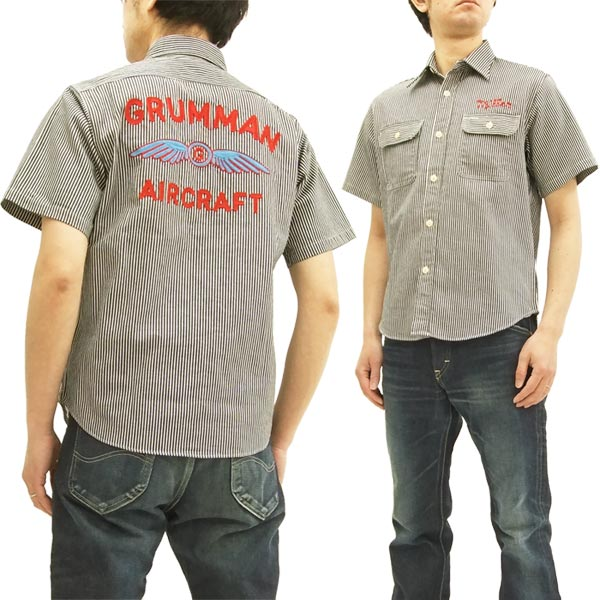 シュガーケーン SC37909 ヒッコリーストライプ 刺繍 ワークシャツ メンズ 半袖シャツ #119ブラック 新品