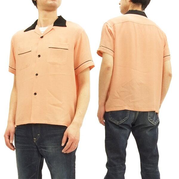 スタイルアイズ ボウリングシャツ SE37802 東洋 メンズ 半袖 2トーン 無地 ボーリングシャツ 162ピンク 新品